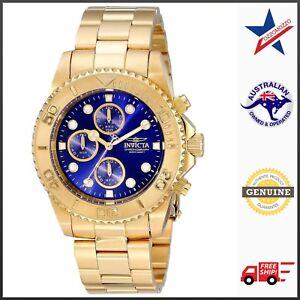 Invicta-Men-039-s-19157-Pro-Diver-Blue-Luminous-Dial-Gold-Tone-Bracelet-Watch