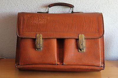 Alte Tasche Arbeitstasche Ddr Ledertasche 70er Jahre Hellbraun Vintage Leder