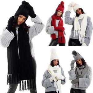 a1d328d82d9 Ladies Knitted Lined Mittens Hat Scarf Set Womens Fleece Winter Warm ...