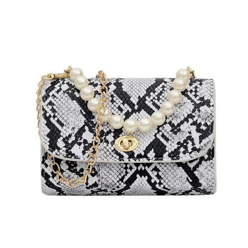 Women Snake Print Pearls Shoulder Bags Handbags PU Leather Chain Crossbody Bags