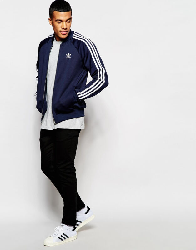 Adidas Originals Trifoglio Superstar Track Giacca Ay7061 Nuova Di Zecca Con Etichette Blu Scuro