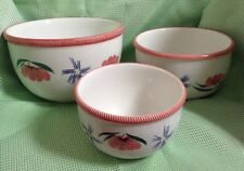 Rare CERAMICHE EGIZIA HAND PAINTED  - SET OF 3 -  Nesting Bowls - Made In Italy