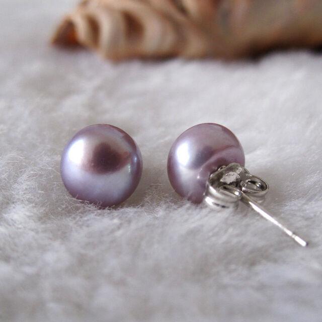 Genuine Natural 7-8mm Purple Akoya Freshwater Pearl Sterling Silver Stud Earring