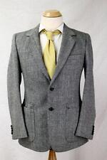 Mens Joe Namath Vtg Tweed Wool Sport Coat Blazer Black White Herringbone 37 R