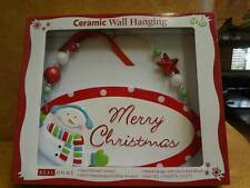 Merry Christmas Ceramic Wall Hanging Snowman Hand Painted Holiday Decoration