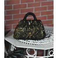12th Scale Black And Gold Carpet Bag From Dolls House Emporium