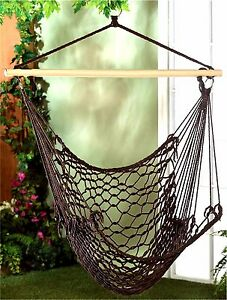 ESPRESSO HAMMOCK CHAIR ** Woven Cotton Rope~Wood~Metal * Max Wt 200 lbs ** NIB