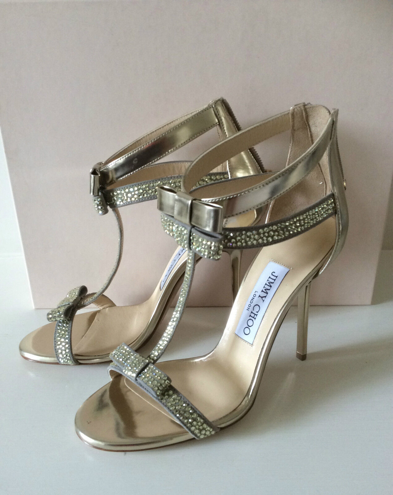 Jimmy CHOO Escape Oro Fiocco Scarpe per sposa OCCASIONE, 36 UK3