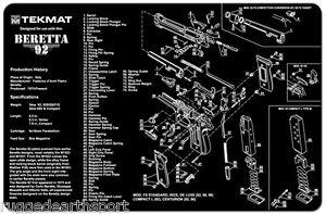 Beretta 92 M9 Handgun Tekmat Gun Cleaning Mat 11x17 W