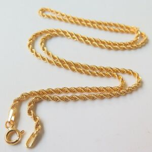 New-Solid-18k-Yellow-Gold-Necklace-17-7inchL-Women-Luck-2mmW-Rope-Chain-Necklace