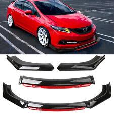 Front Bumper Lip Splitter Glossy Black Red For 2013 15 9th Honda Civic Sedan Si Fits 2013 Honda Civic Si