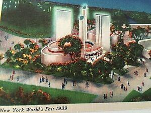 VTG 1939 New York World's Fair Postcard Gas Exhibits  Building Q1