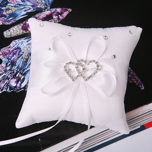 White Double Heart Wedding Pocket Ring Pillow Cushion Crystal Bearer Hood Z9L2