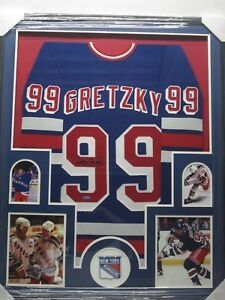 save off d75e5 3896a Details about WAYNE GRETZKY NY Rangers Autographed Jersey Framed w/ Photos  Upper Deck CoA