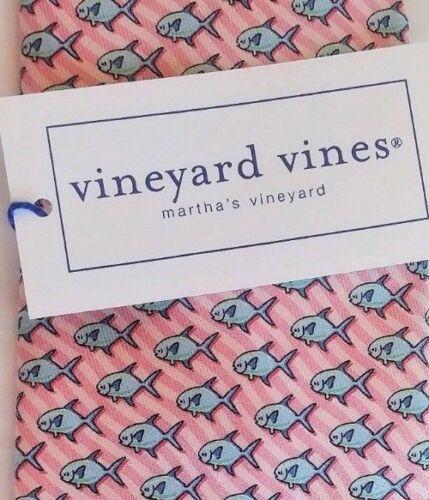 Vineyard Vines PERMIT Fish Lt PINK Blue Boys Necktie Silk NWT $49.50 USA Made