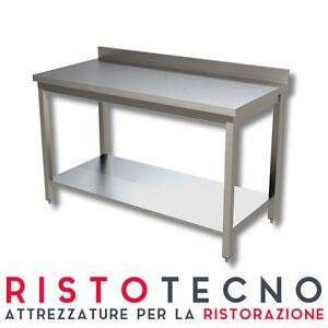 Tavolo acciaio inox con ripiano con alzatina 140x70x85h ristorazione pizzeria ebay - Alzatina cucina acciaio ...