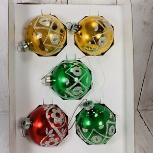 5-Vintage-Holly-American-Made-Glass-Ball-Glitter-Stencil-Christmas-Ornament-258