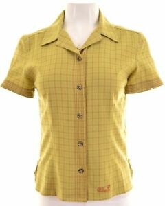 JACK-WOLFSKIN-Chemise-femme-a-manches-courtes-UK-10-S-Vert-Carreaux-Polyester-NH02