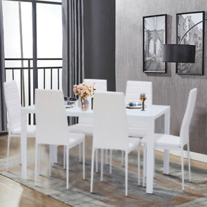 Modern White Glass Dining Table Set And Padded Leather Chairs - Modern 6 seater dining table and chairs