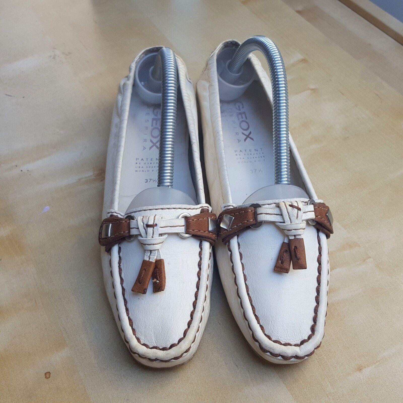 Geox de cuero genuino genuino genuino Para Damas Zapatos Talla Uk 4.5. Color blancoo Con Detalle Marrón.  calidad auténtica