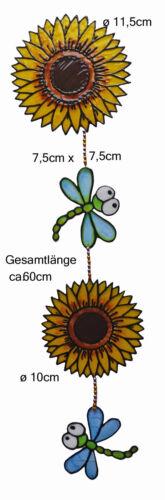 zum Aufhängen 001 Mobilekette Fensterschmuck Window Color Sonnenblumen