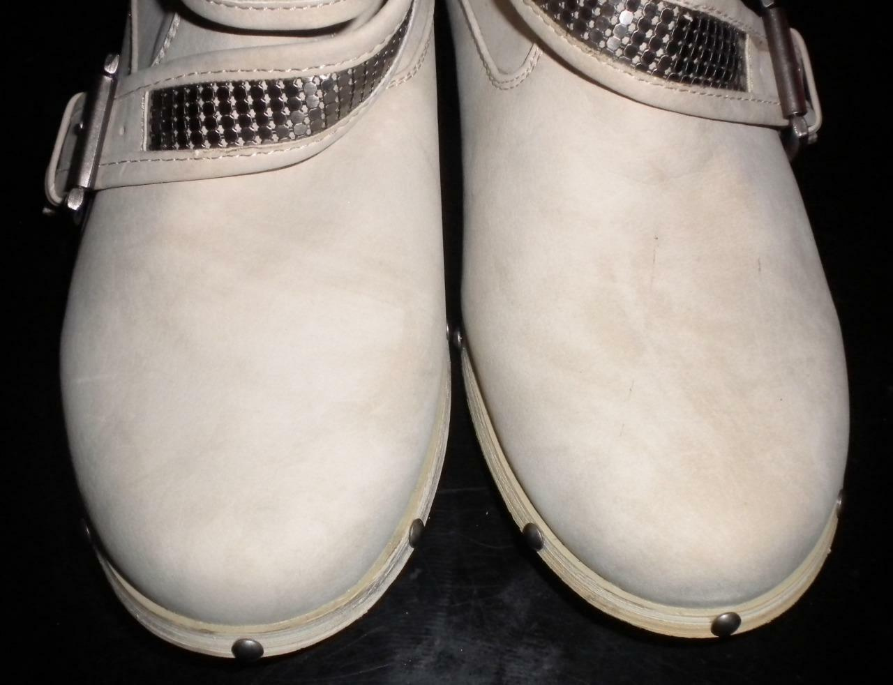 NOT RATED WOMEN'S SIZE 7 STRAPS M IVORY BUCKLES AND STRAPS 7 PULL-ON FASHION ANKLE BOOTS 872f91