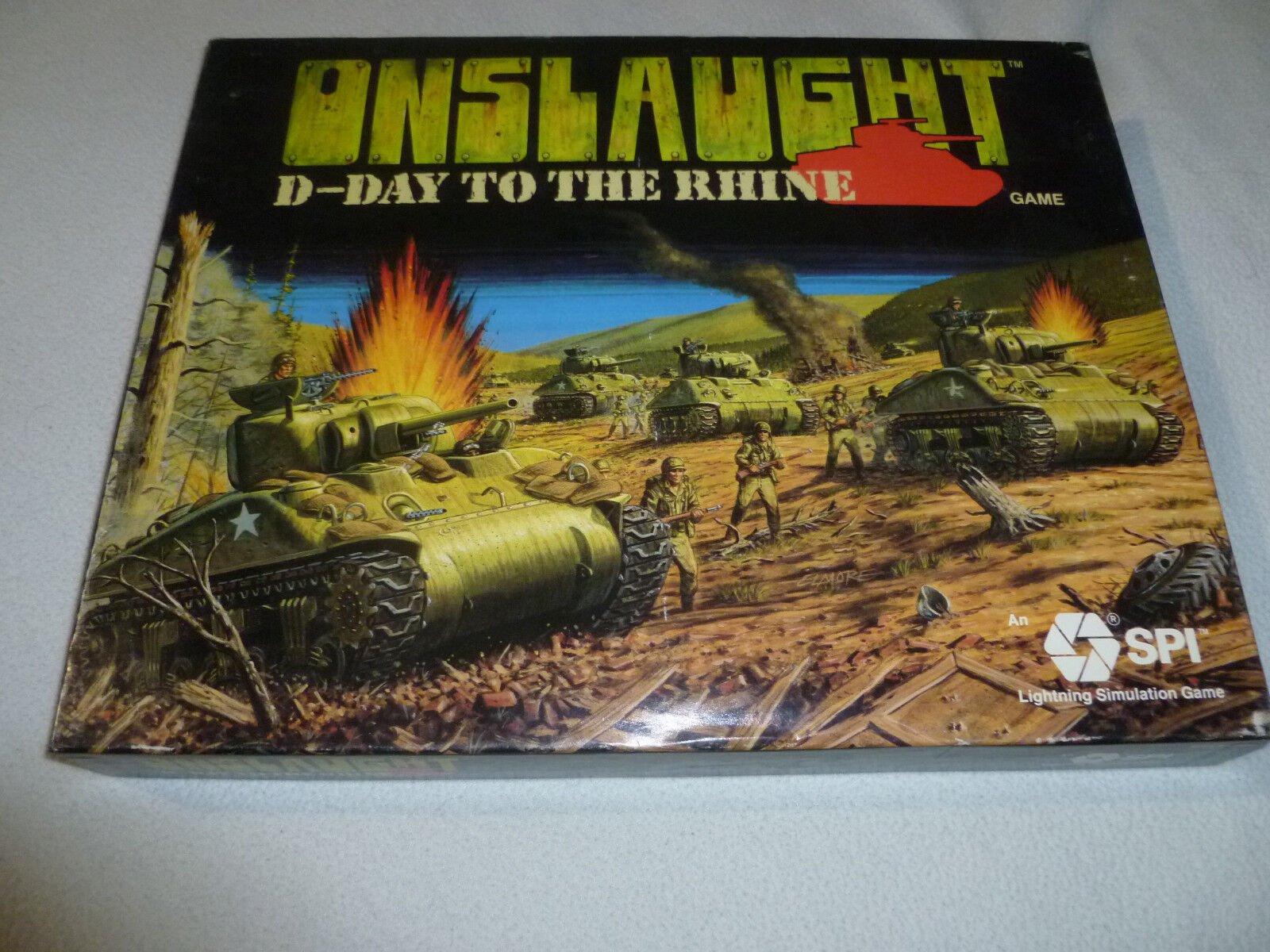 ONSLAUGHT D-DAY TO THE RHINE BOARD GAME SPI 1987 VINTAGE COMPLETE IN BOX 3021