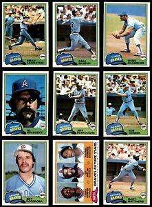 1981-Topps-ATLANTA-BRAVES-Complete-Team-Set-25-Cards-DALE-MURPHY-Nice-LOOK