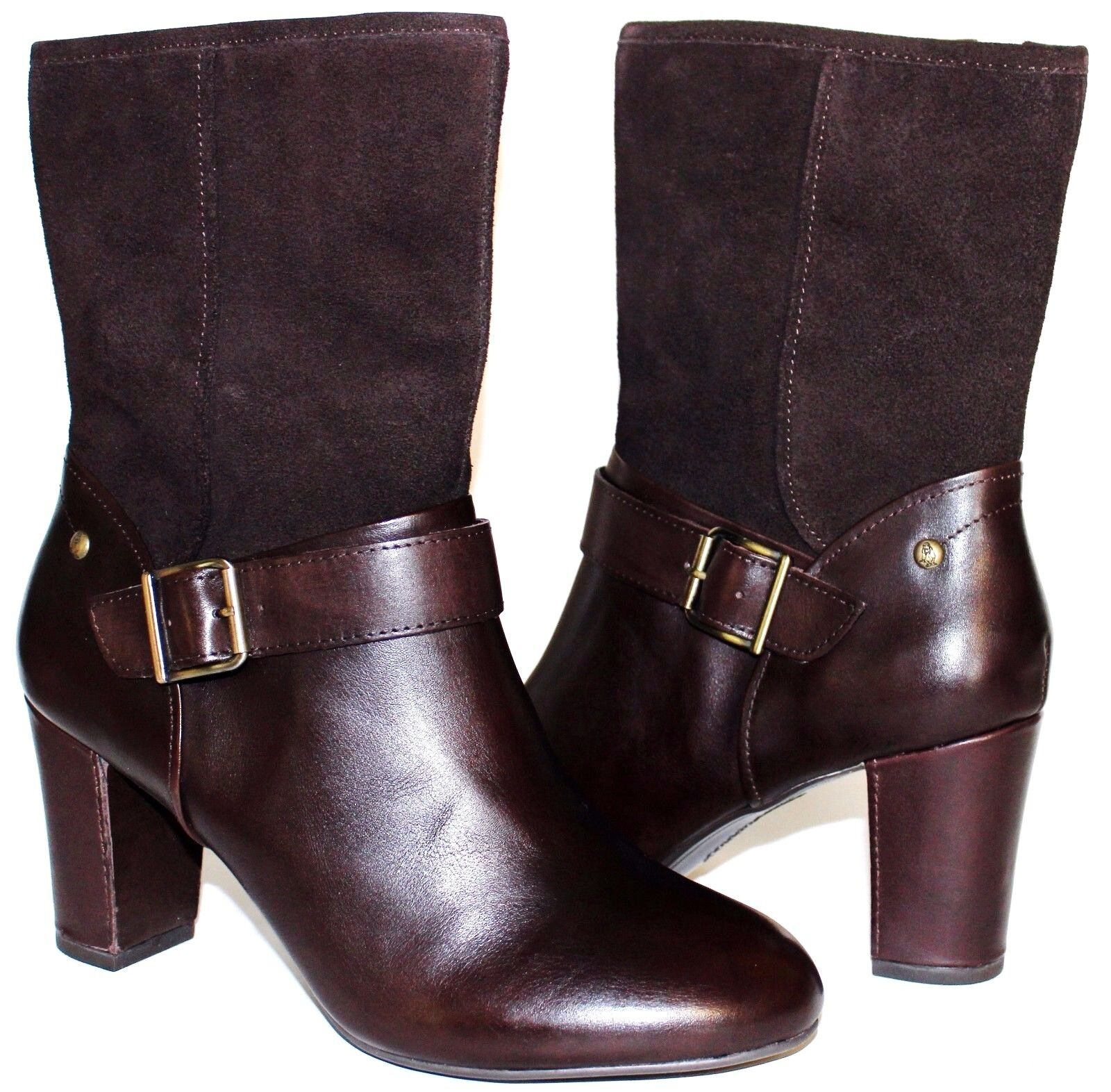 HUSH PUPPIES Waterproof Brown Premium Leather 3 Heel Zip Boots 11 W NEW  L@@K