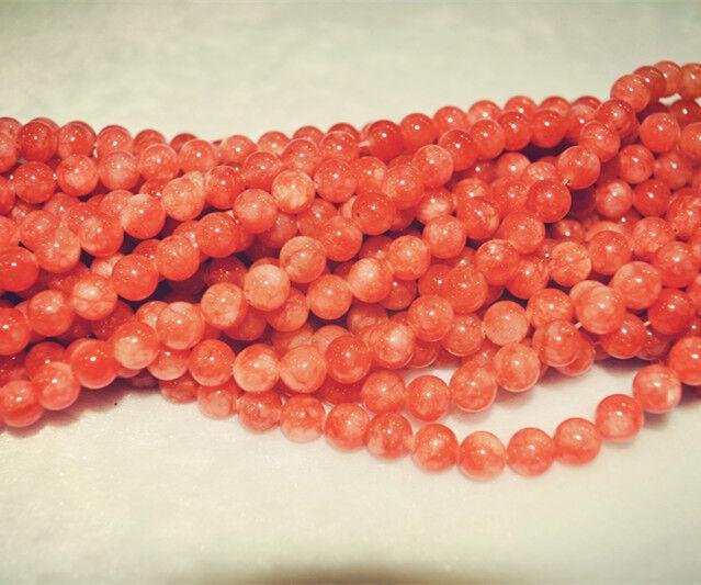 lo último 8mm Redonda Color Gradiente de Naranja Gemas Jade granos flojos AAA