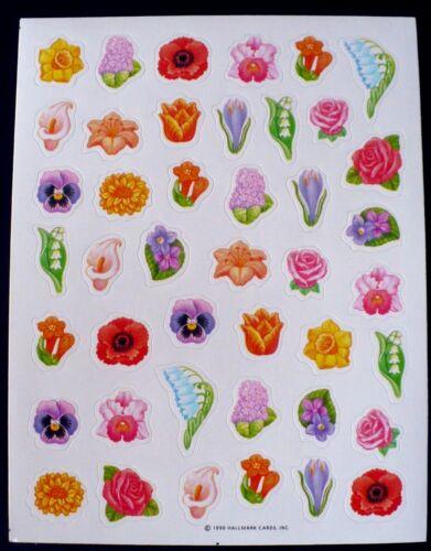 Vintage 1990 Hallmark 43 autocollants 1 feuilles de BELLES FLEURS ROSES TULIPES Daisy