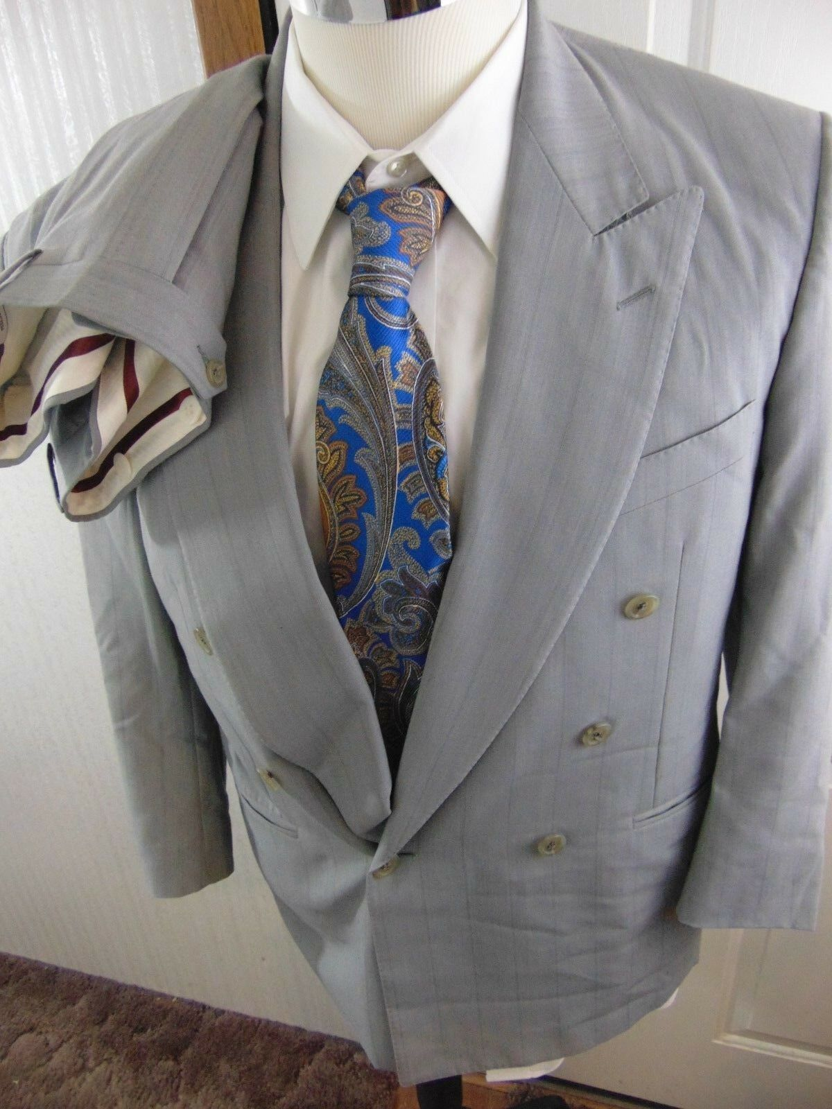 Canali Milano Breasted Uomo Gris Striped Double Breasted Milano Suit Size 38S Waist 34x28 VGUC f31c26
