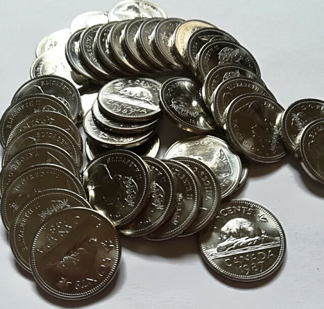 Roll of 1987 Canada Fivel Cents (UNC. 40 Coins, ID=RR169)