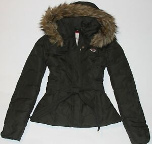 Details about HOLLISTER by Abercrombie Womens Vintage Down Puffer Jacket Coat Fur Trim Olive M