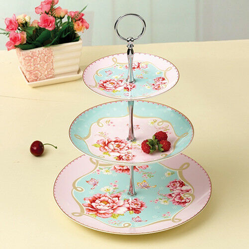 KF 3 Tier Round Cupcake Cake Plate Stand Handle Fitting Wedding Party Stand C