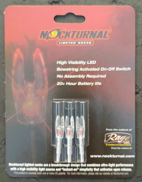 3 Rage Archery NockTurnal LED Lighted Nocks Standard Size S Blue NT-214