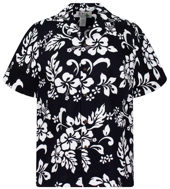 KY's Original Camisa Hawaiana 81 Hibiscus noir
