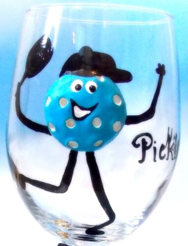Pickleball wine glass beer glass hand painted 3-D unique gift pickleball team