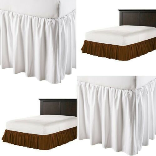 White Brown Dust Ruffle Bed Skirt 605 TC Solid Cotton Split Corner Sale