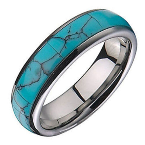Turquoise Tungsten Ring Unisex Dome Dyed Inlay 6mm Band Limited sizes Remain