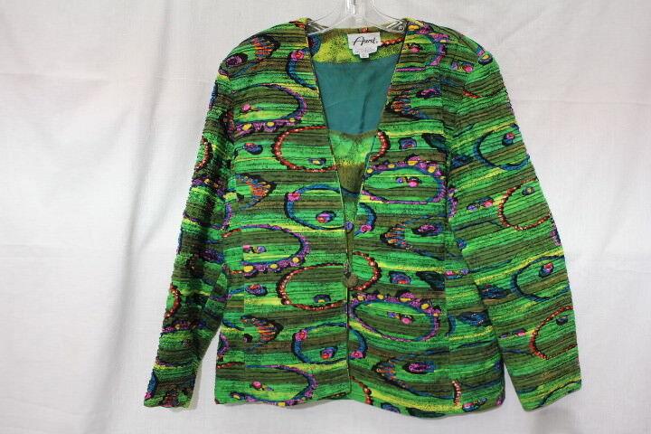 Vintage ASERET 100% Silk Multi-color Geometric Tank & Blazer Set Womens, 14-B91