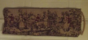 "VERY NEAT TAPESTRY OR RUNNER 54"" X 19"" OF A FOX HUNTER ROMANCING A LADY"