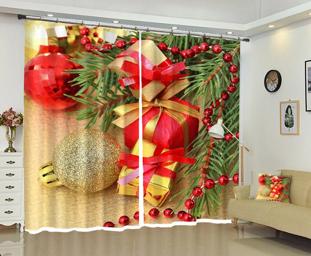 3D Christmas Xmas Gift Ball 44 Blockout Photo Curtain Print Drapes Fabric Window