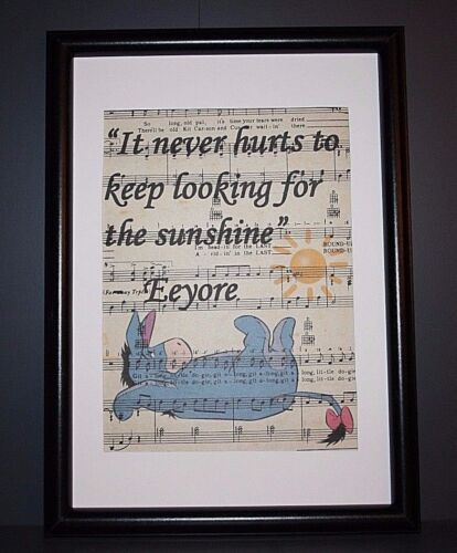 WINNIE THE POOH EEYORE QUOTE VINTAGE ANTIQUE MUSIC BOOK PAGE ART PRINT PICTURE