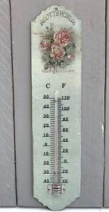 Nostalgie-Thermometer-staubig-gruen-rosa-Rosen-Motiv-Vintage-Shabby-Stil