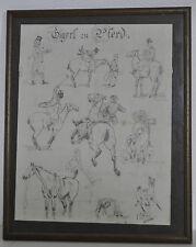 ORIGINAL-Zeichnung Handzeichnung Skizzen Studie Pferde Reiter Liebi/Lausanne