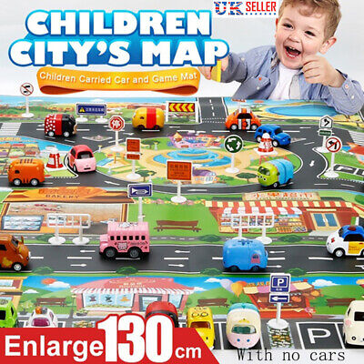 Home Car Traffic Road Signs City Scene Educational Kids Baby Play Mat Carpet UK
