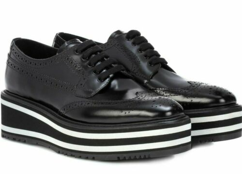 Women's PRADA Size EU 37 Wingtip Leather Lace Up P