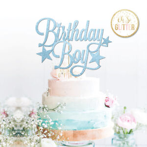 Image Is Loading Birthday Boy Topper Happy Glitter 1