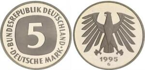 5 DM Currency Coin 1995 G Top-Erhaltung - Seltenes Year Polished